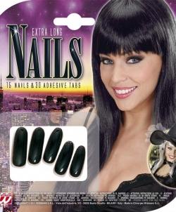 Длинные, черные накладные ногти - Накладные ногти, арт: I7289S0