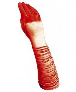 Красные сатиновые перчатки со сборкой, размер: UNI - Перчатки, арт: I7927S112