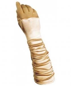 Золотые сатиновые перчатки со сборкой, размер: UNI - Перчатки, арт: I7932S112