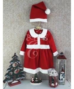 Новогоднее платье с колпаком для малышек, размер: 98 - На Новый Год 2019, арт: I7972S164