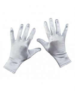 Короткие сатиновые перчатки (серебряные), размер: UNI - Перчатки, арт: I8076S112