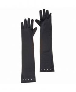 Черные перчатки со стразами (детские), размер: 15 - Перчатки, арт: I9694S99